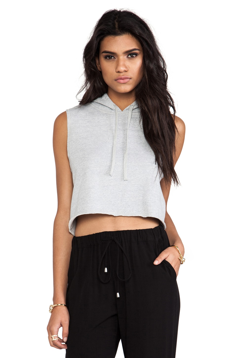 First Base Cropped Sweat Hoodie in Light Grey Marle