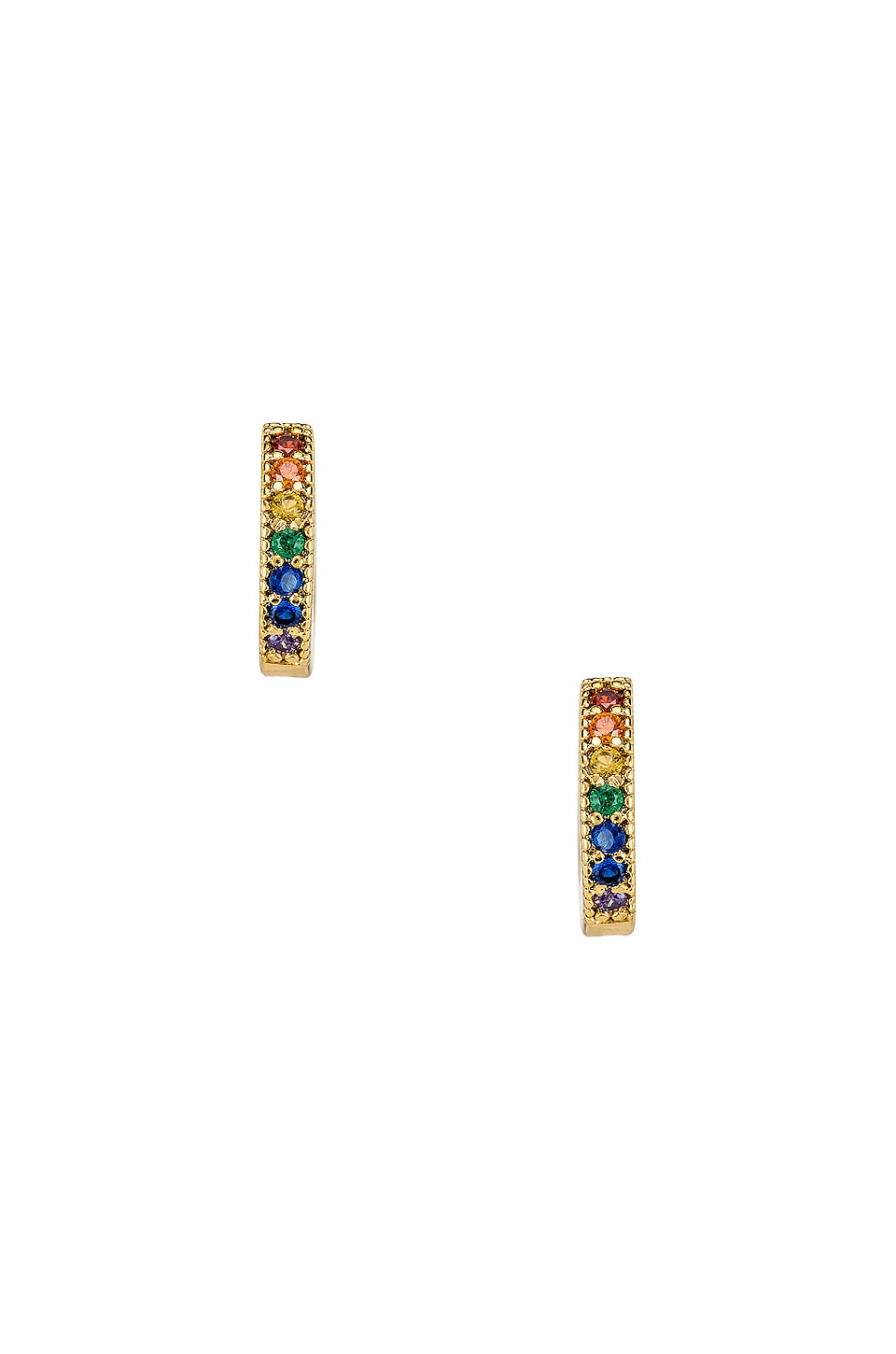 Five and Two Dallas Mini Stone Earrings in Rainbow