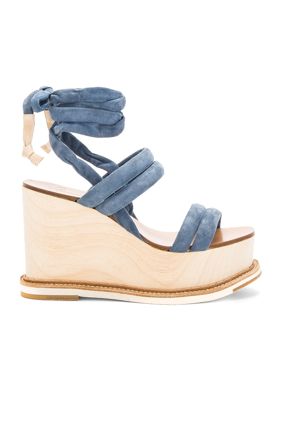 Flamingos Lily Wedge in Suede Blue