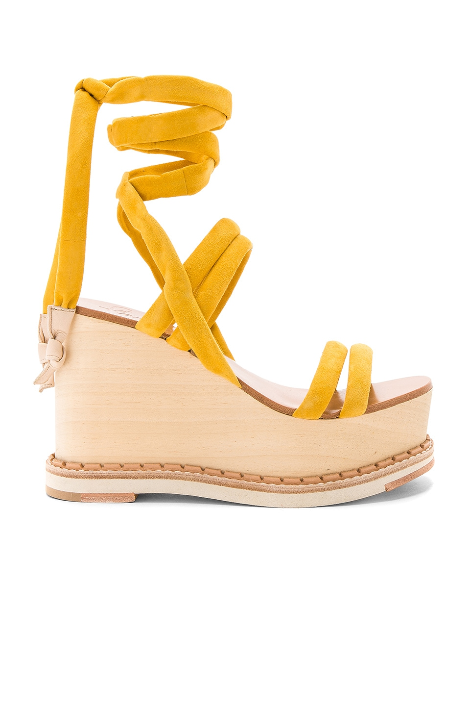 Flamingos Lily Wedge in Suede Yellow