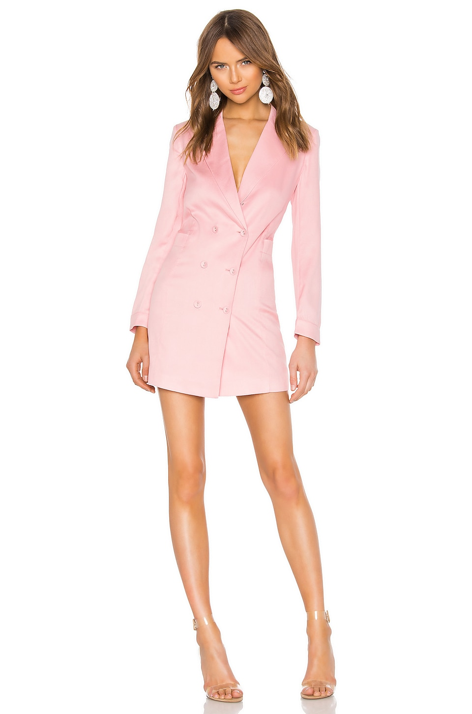 fleur du mal Double Breasted Blazer Dress in Coral Blush