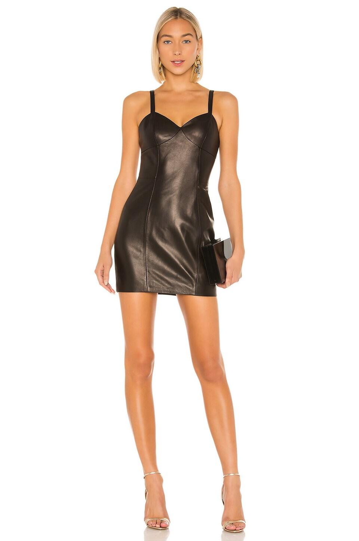 fleur du mal Leather Mini Slip Dress in Black