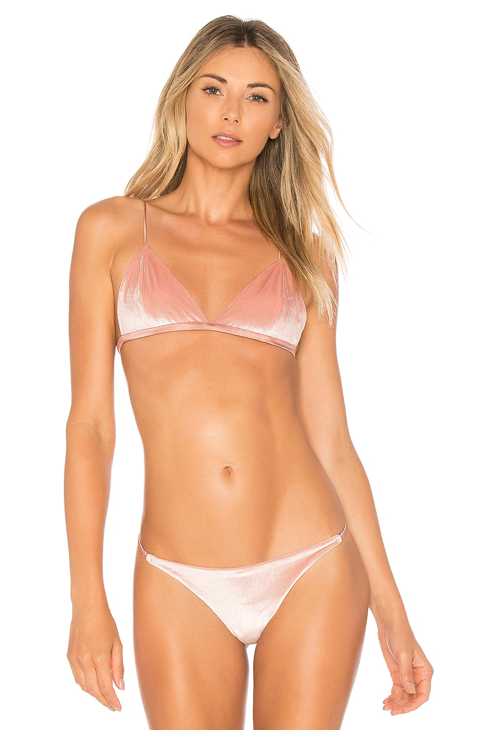 fleur du mal Velvet Luxe Triangle Bra in Flamingo