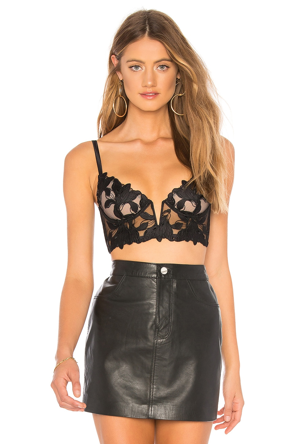 fleur du mal Lily Lace Long Line Demi Bra in Black