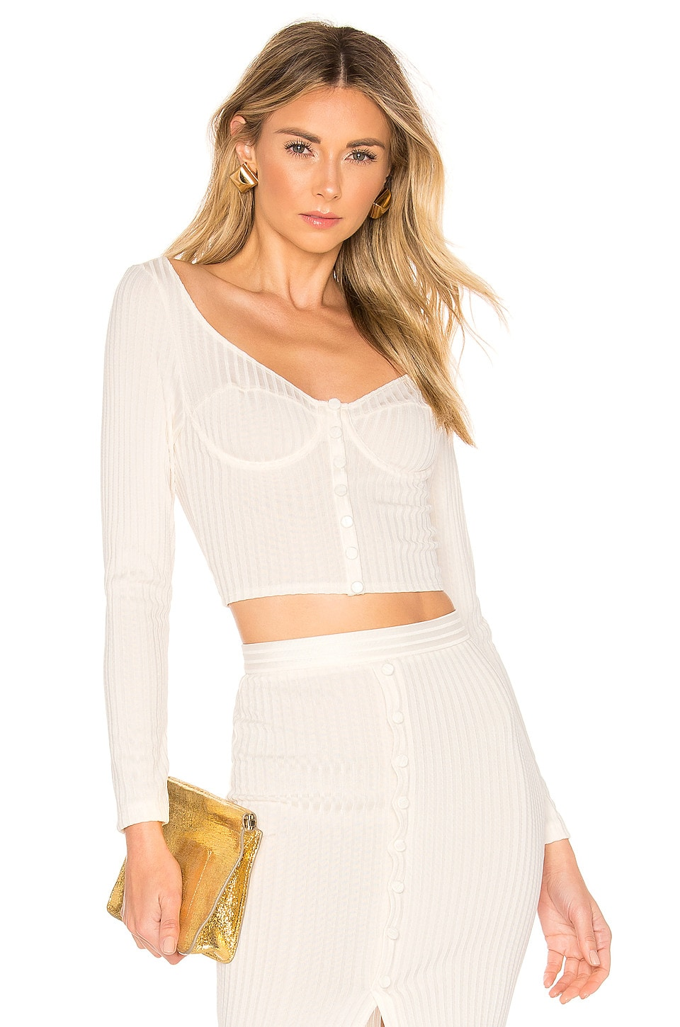 fleur du mal Long Sleeve Knit Bra Top in Ivory