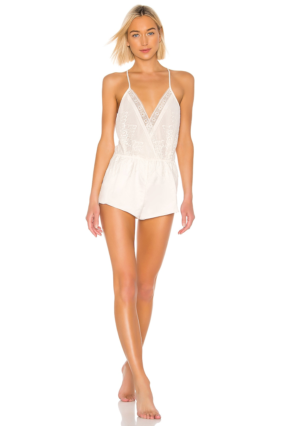 Flora Nikrooz Genevive Charmeuse Lace Romper in Antique Ivory