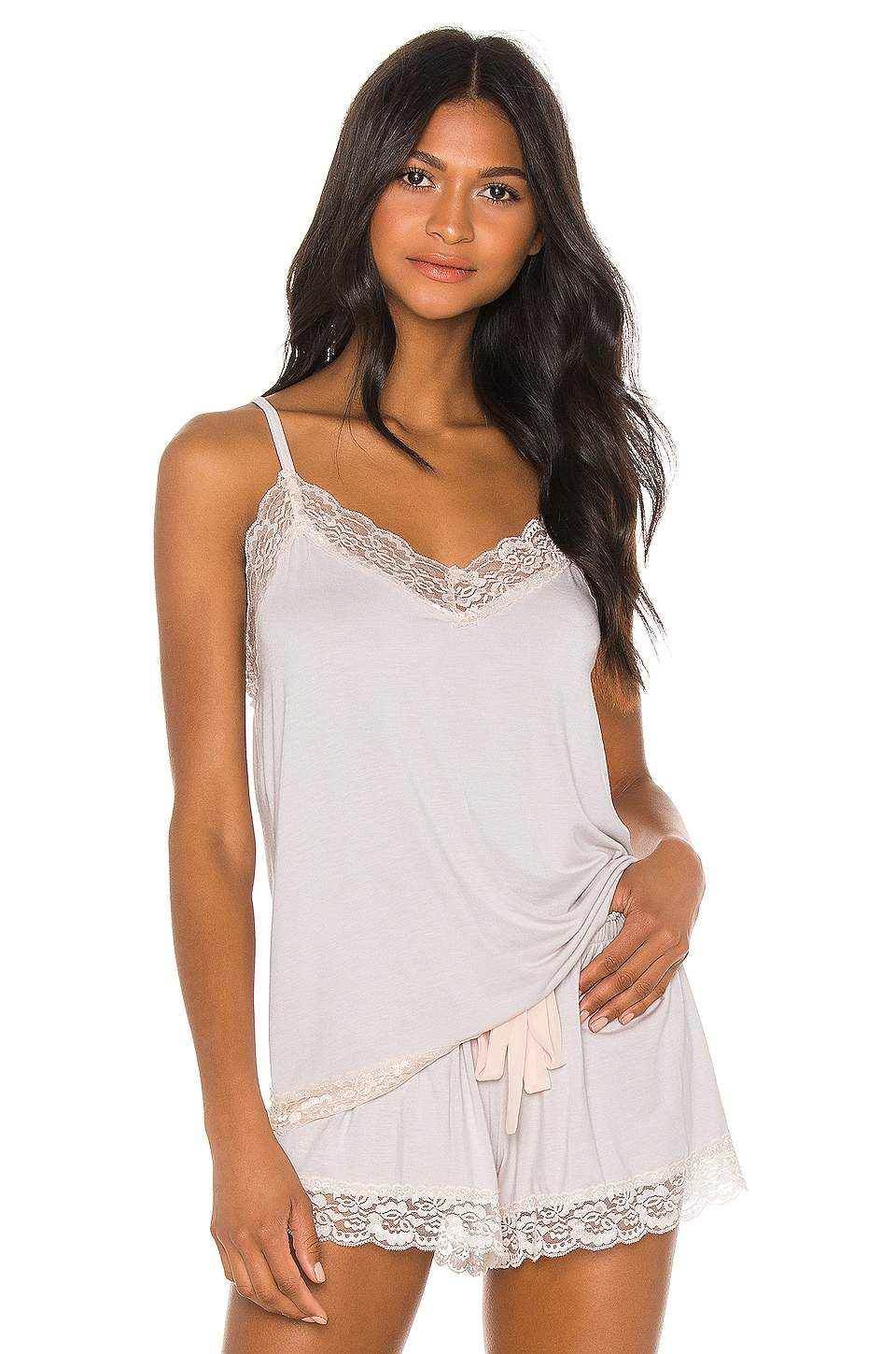 Flora Nikrooz Snuggle Knit Lace Cami in Gray