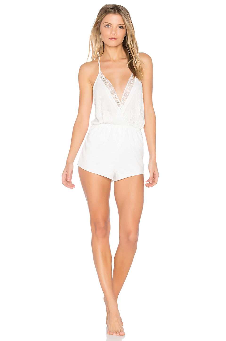 Flora Nikrooz Genevive Charmeuse Lace Romper in Ivory