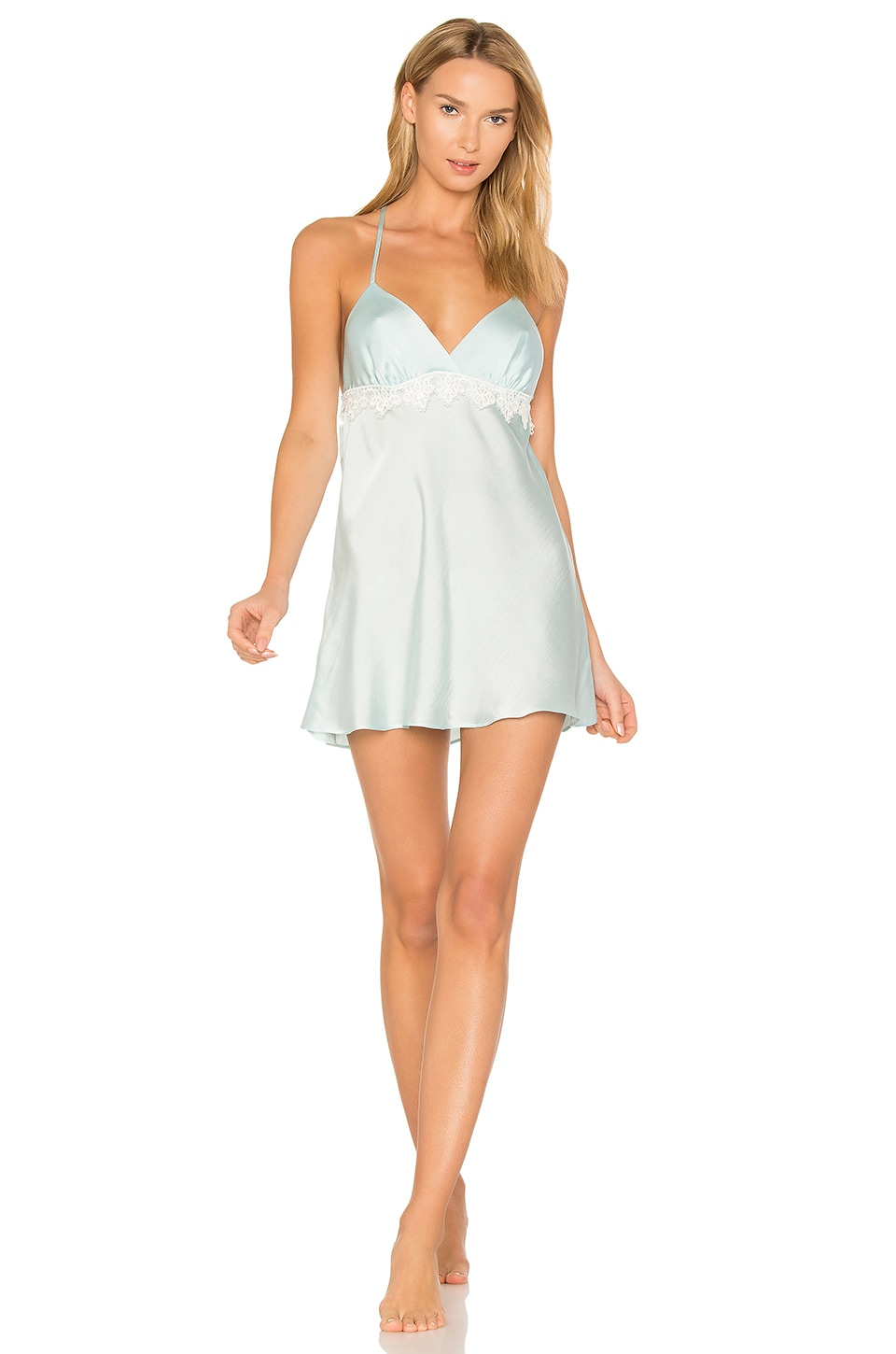 Flora Nikrooz Mira Texture Satin Lace Chemise in Bridal Blue