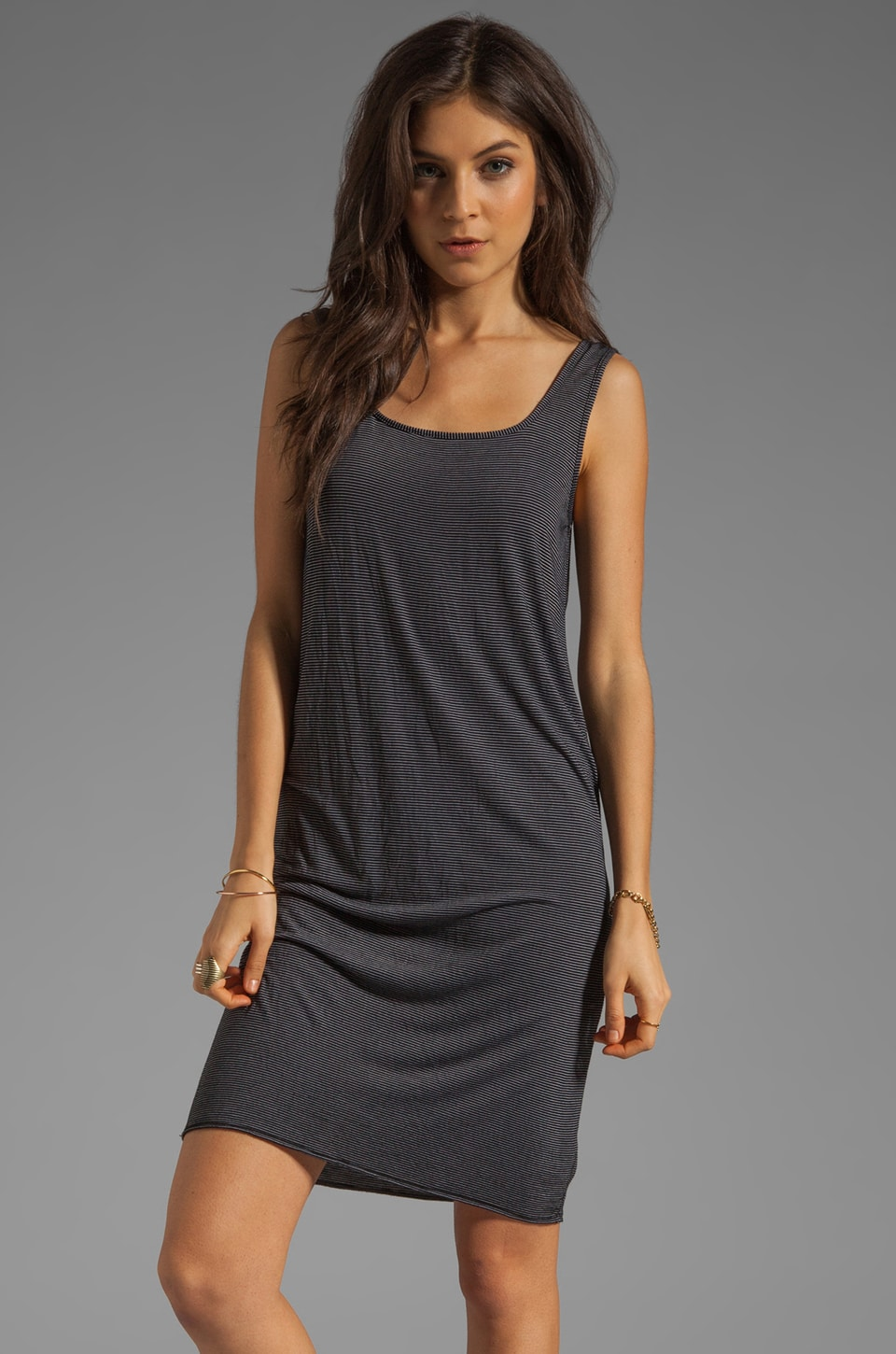 fLuXuS Square-Neck Tank Dress in Black