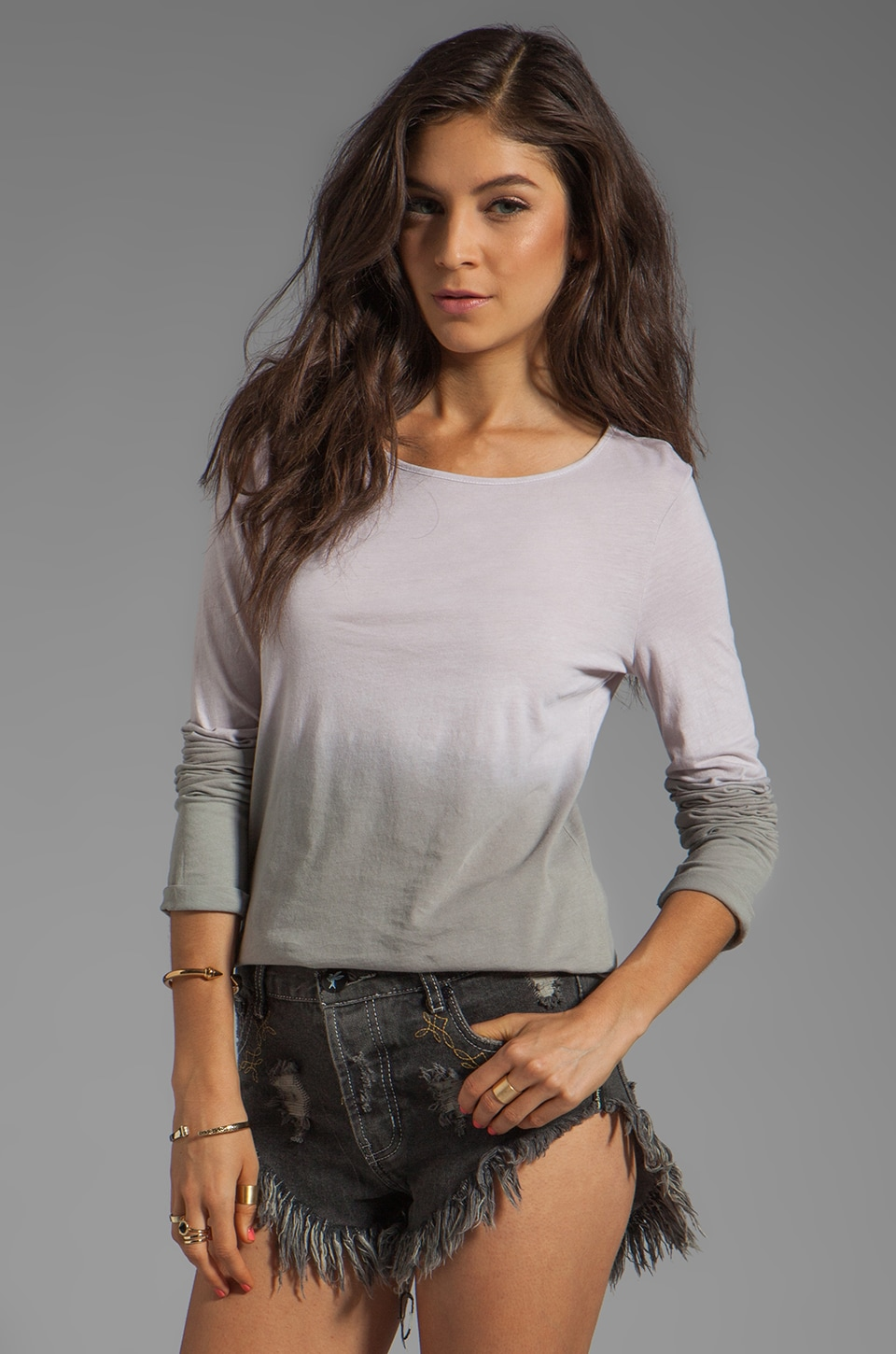 fLuXuS Dip Dye Long Sleeve Tee in Cement Dip
