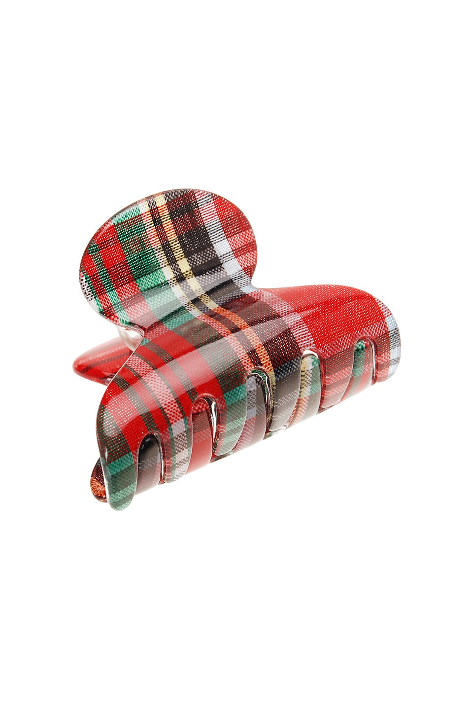 France Luxe Mini Couture Jaw in Tartan Plaid Red & Green