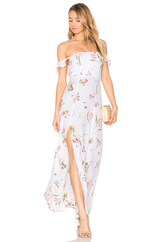 FLYNN SKYE Bardot Maxi Dress in Day Bloom