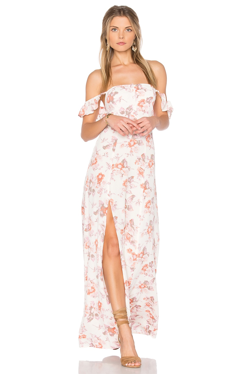 FLYNN SKYE Bardot Maxi Dress in Cream Blossom