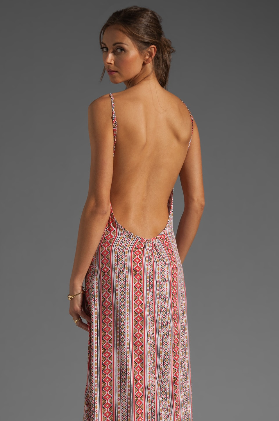 FLYNN SKYE Scoop Back Maxi Dress in Coral Gypsy