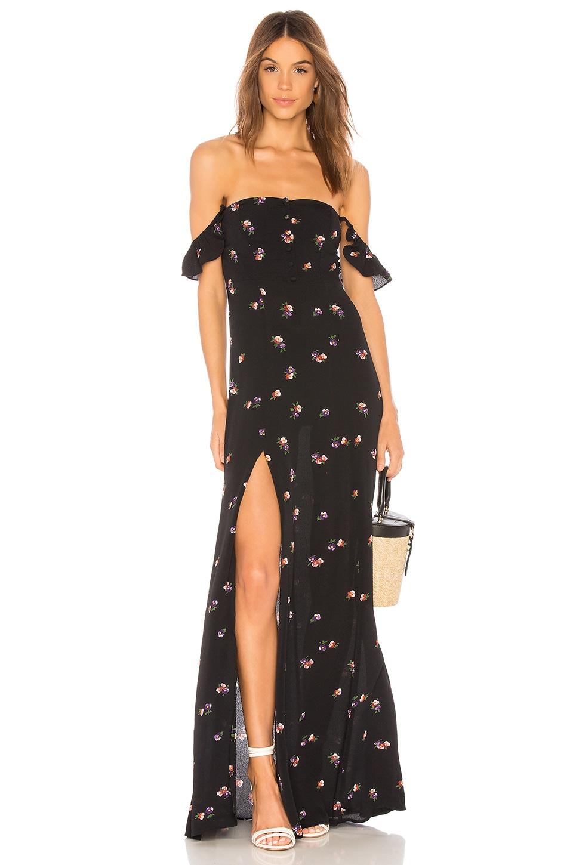 FLYNN SKYE Bardot Maxi Dress in Raining Jasmine
