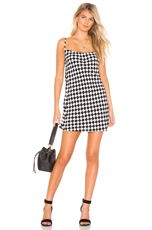 FLYNN SKYE Molly Mini Dress in Black & White Checkerboard