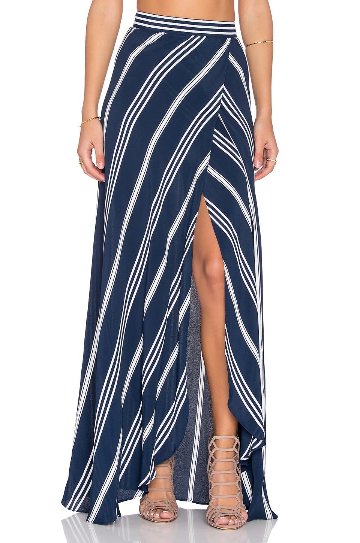 FLYNN SKYE Wrap It Up Skirt in Sapphire Stripe
