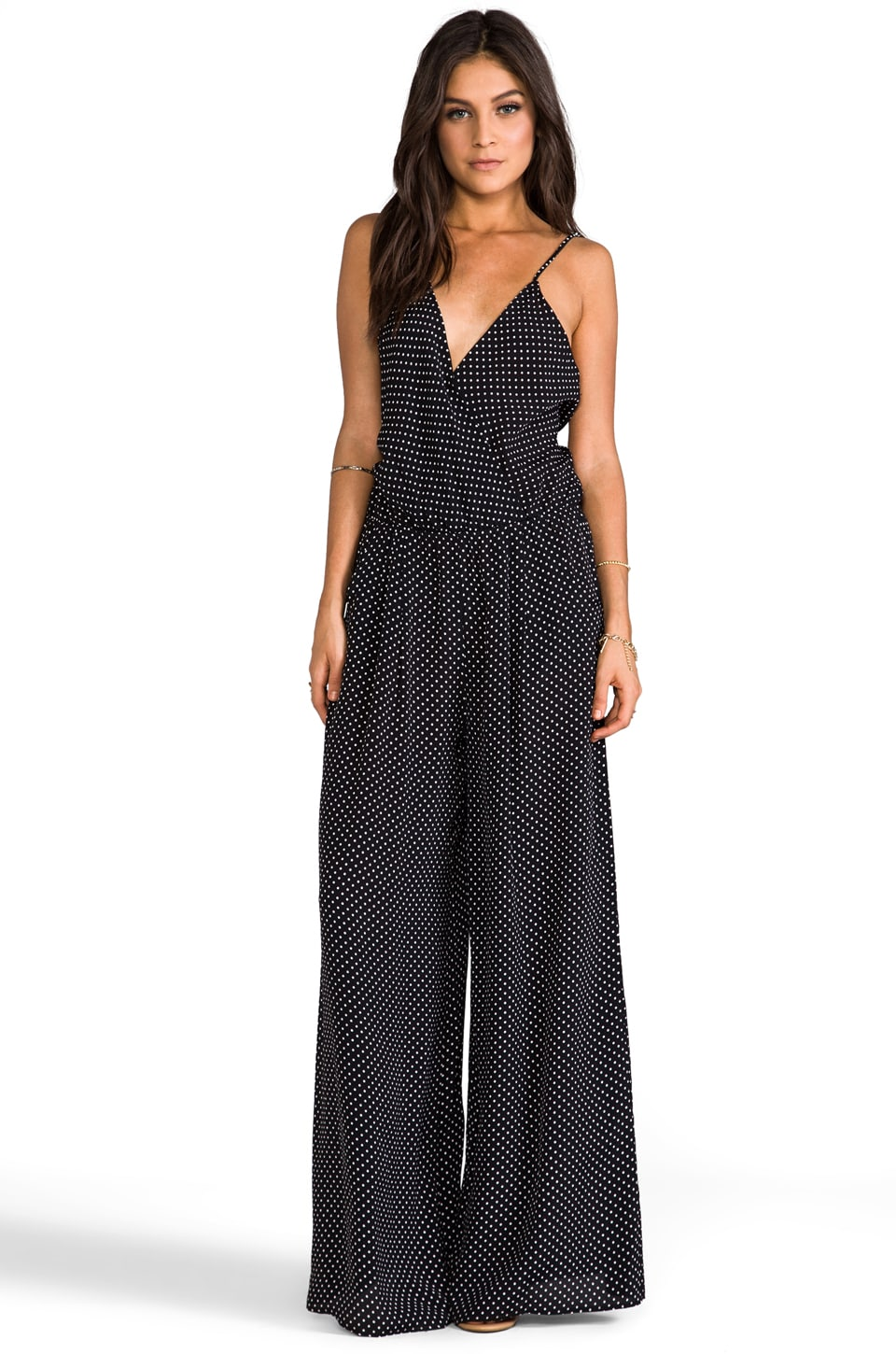FLYNN SKYE Long Jumpsuit in Black Dot