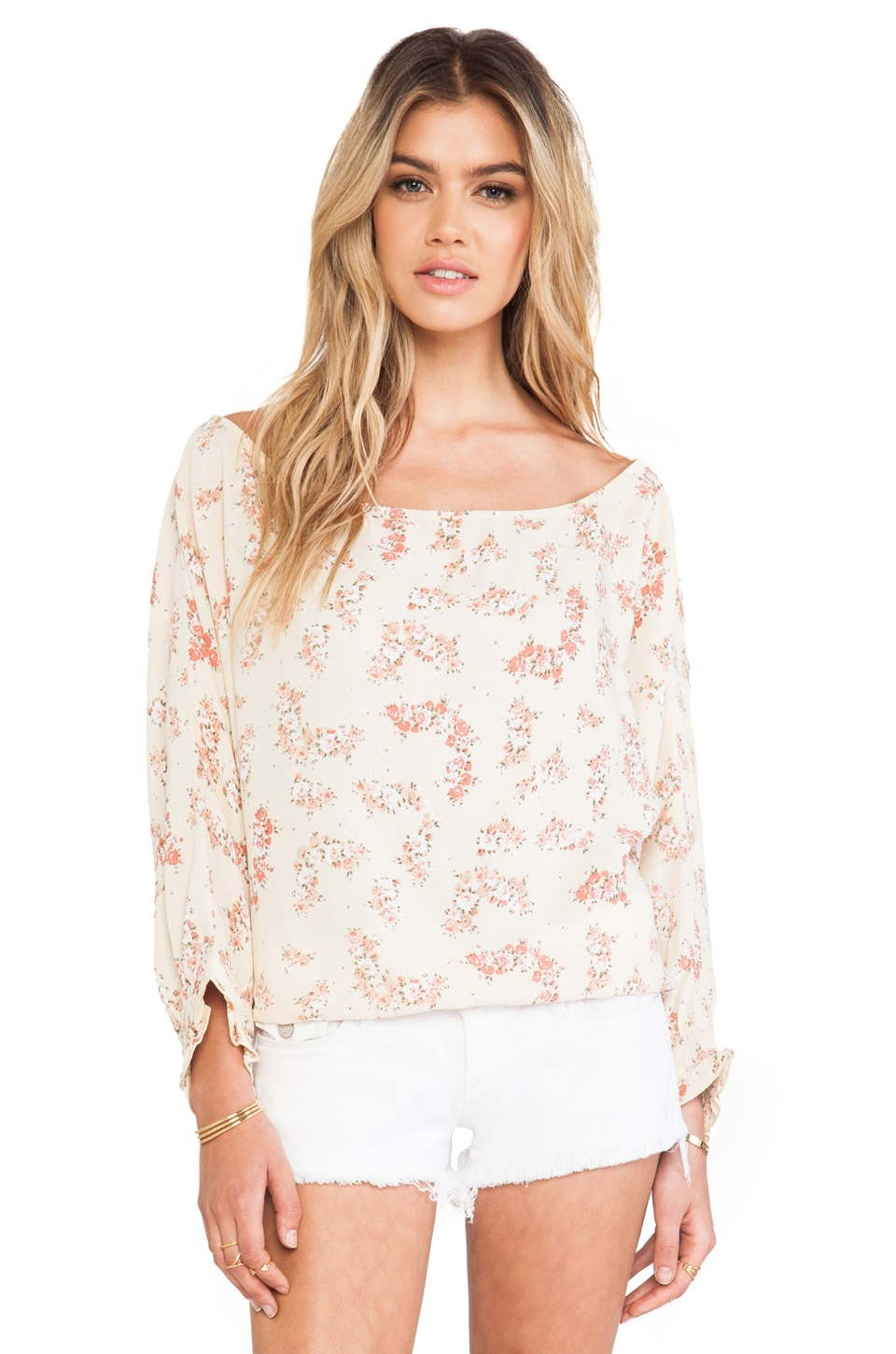 FLYNN SKYE Chealsea Top in Beige Bouquet