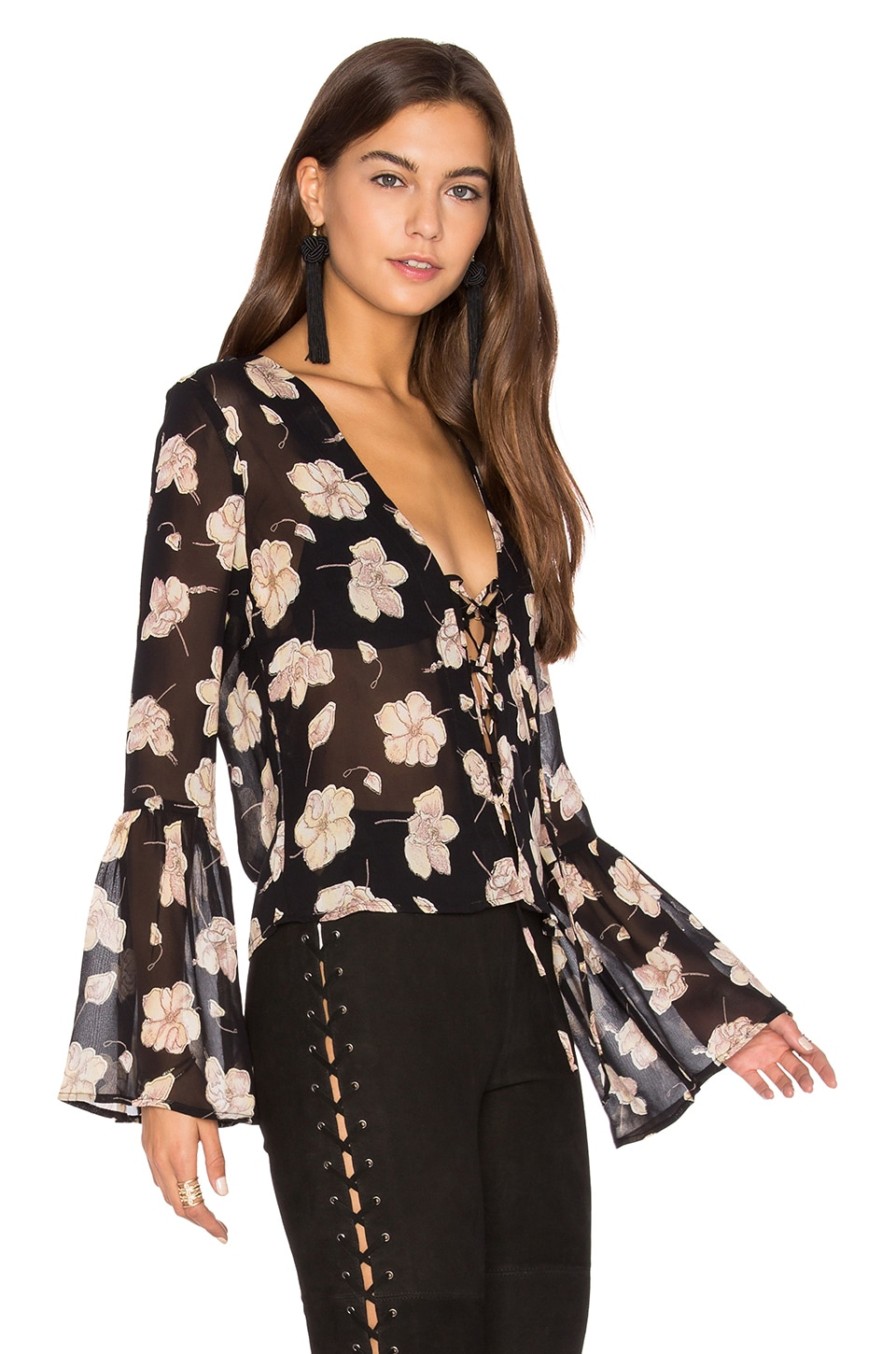 FLYNN SKYE Boston Top in Sheer Onyx