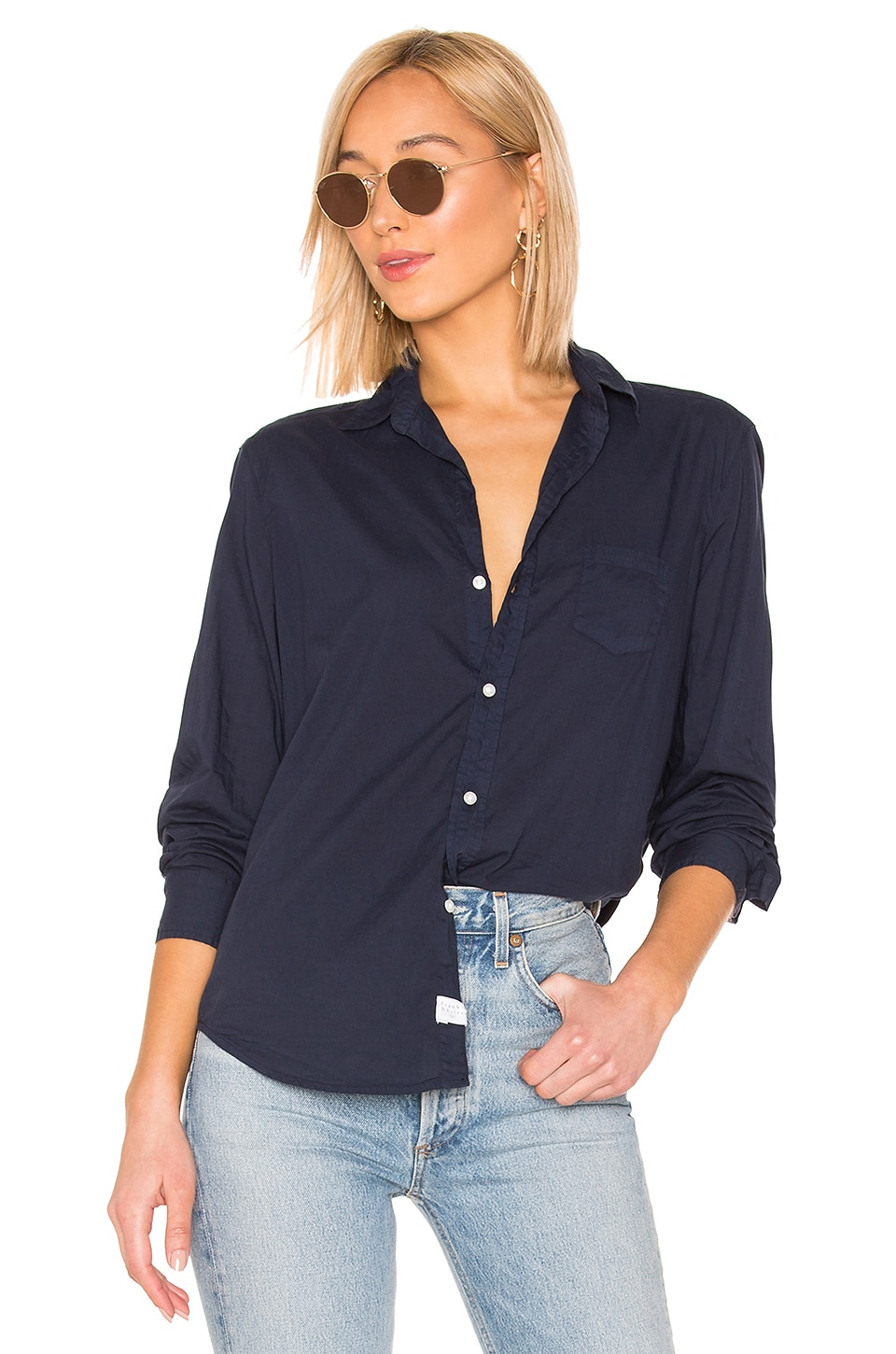 Frank & Eileen Eileen Button Down Blouse in Deep Indigo