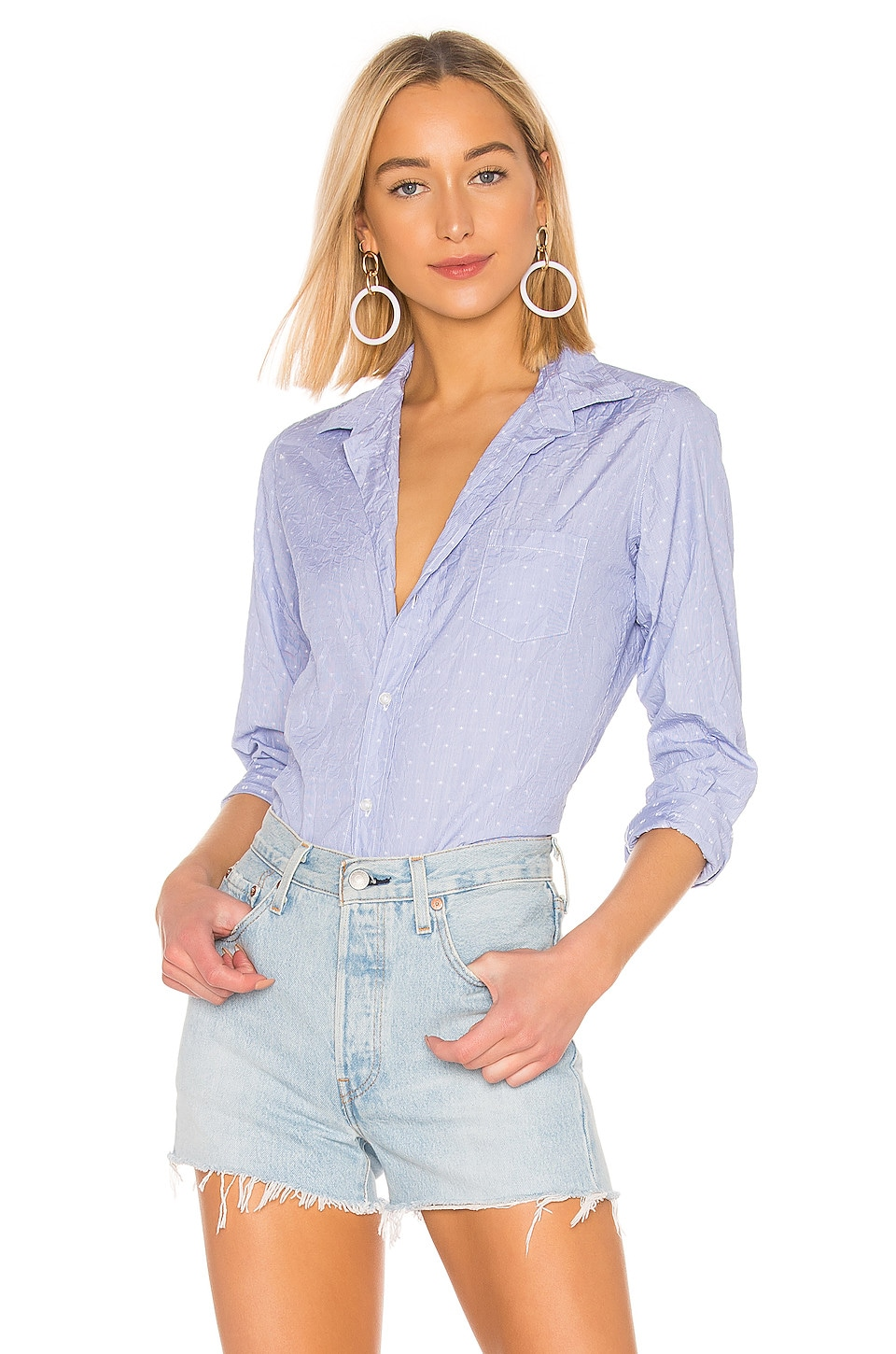 Frank & Eileen Barry Limited Edition Button Down Blouse in White Stars