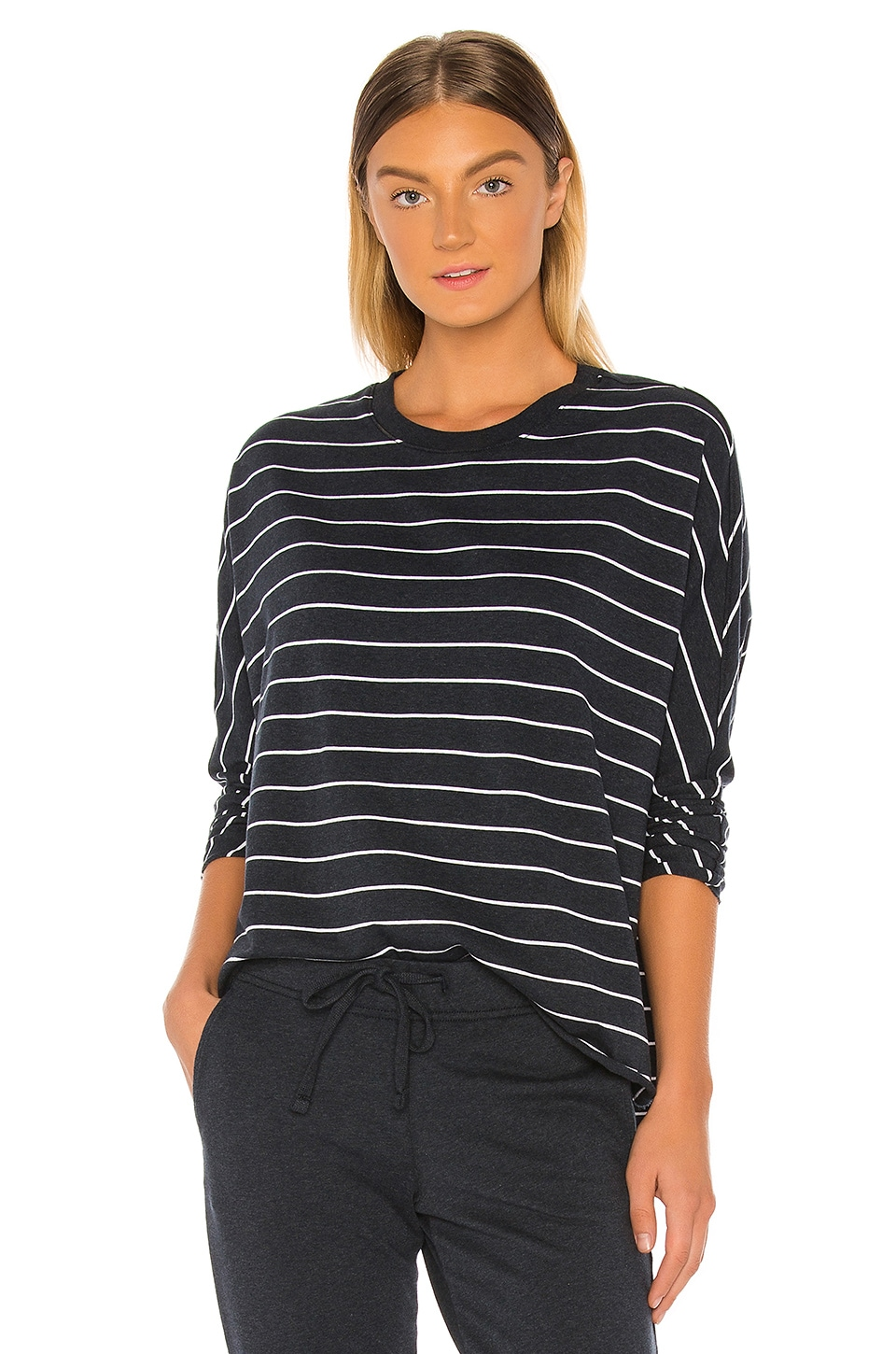 Frank & Eileen tee lab Royal French Terry Long Sleeve in Navy Melange & White Stripe
