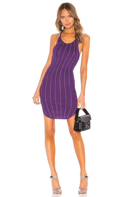 Frankie B Shea Pinstripe Crystals Tank Mini Dress in Purple