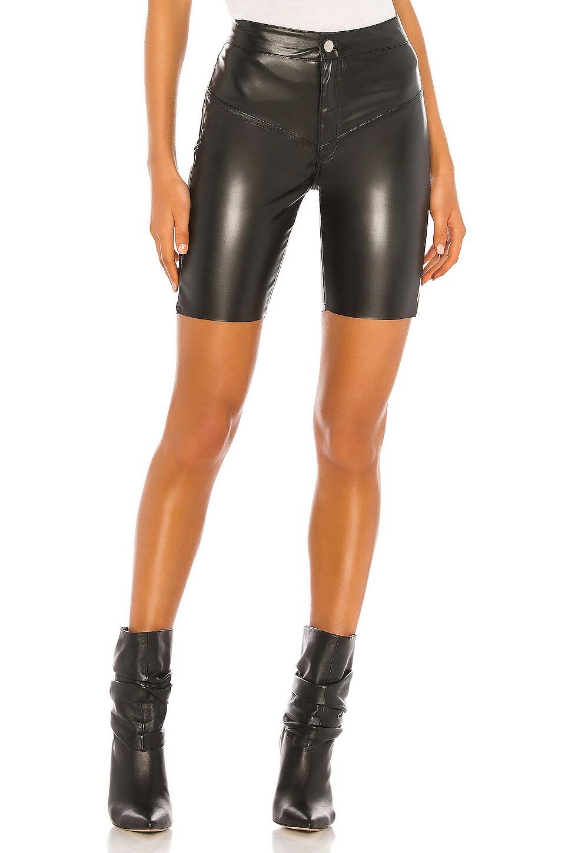 Frankie B Gigi Vegan Leather Biker Short in Black