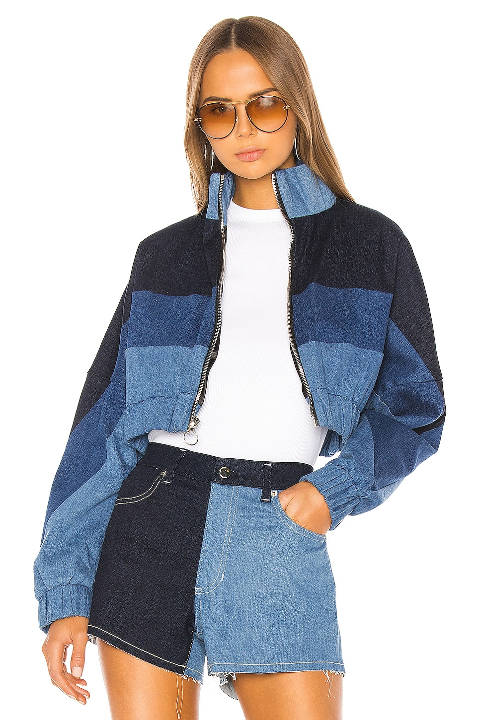 Frankie B Chloe Denim Track Jacket in Indigo
