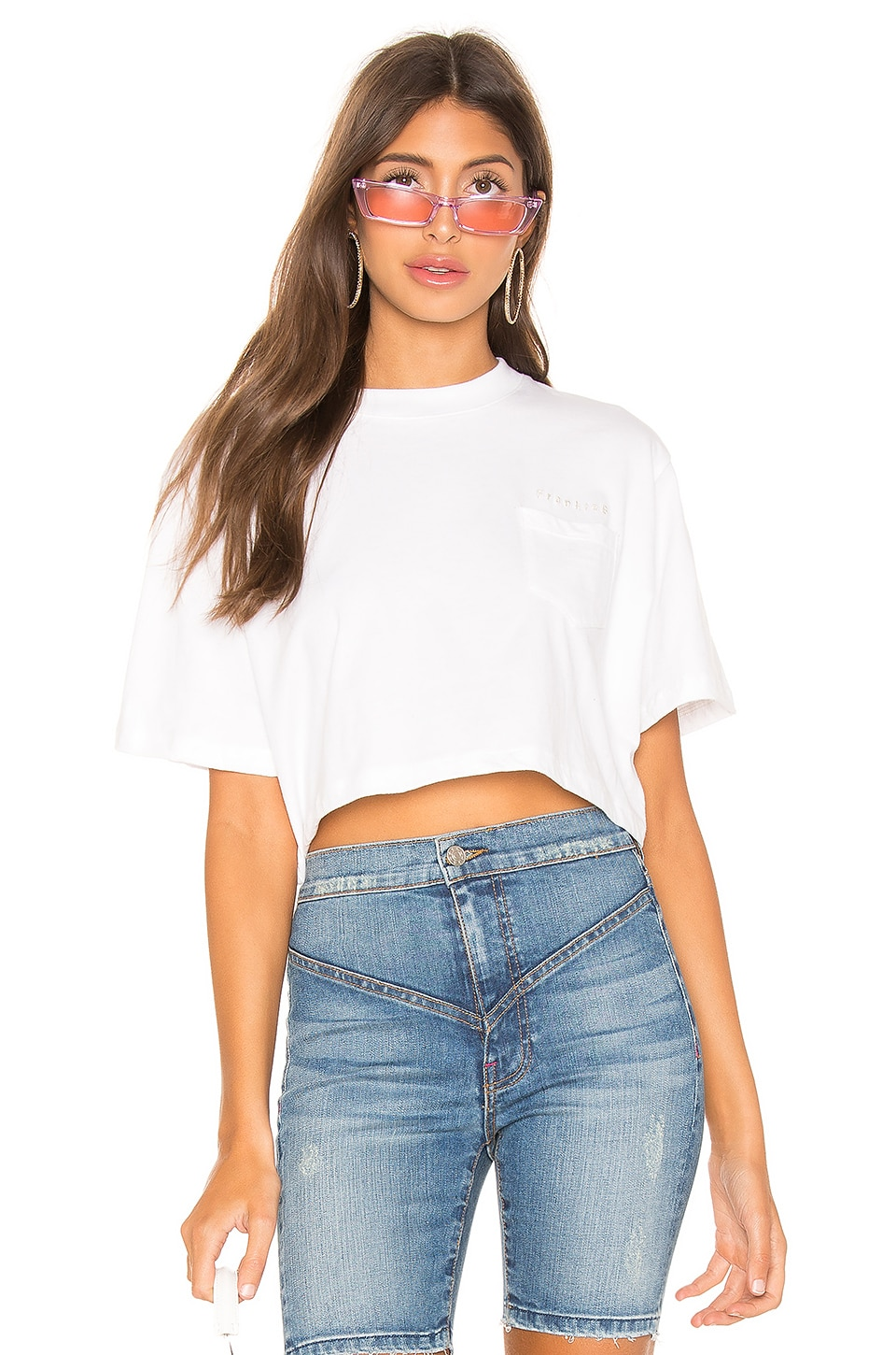 Frankie B Naomi Cropped Short Sleeve Tee in White