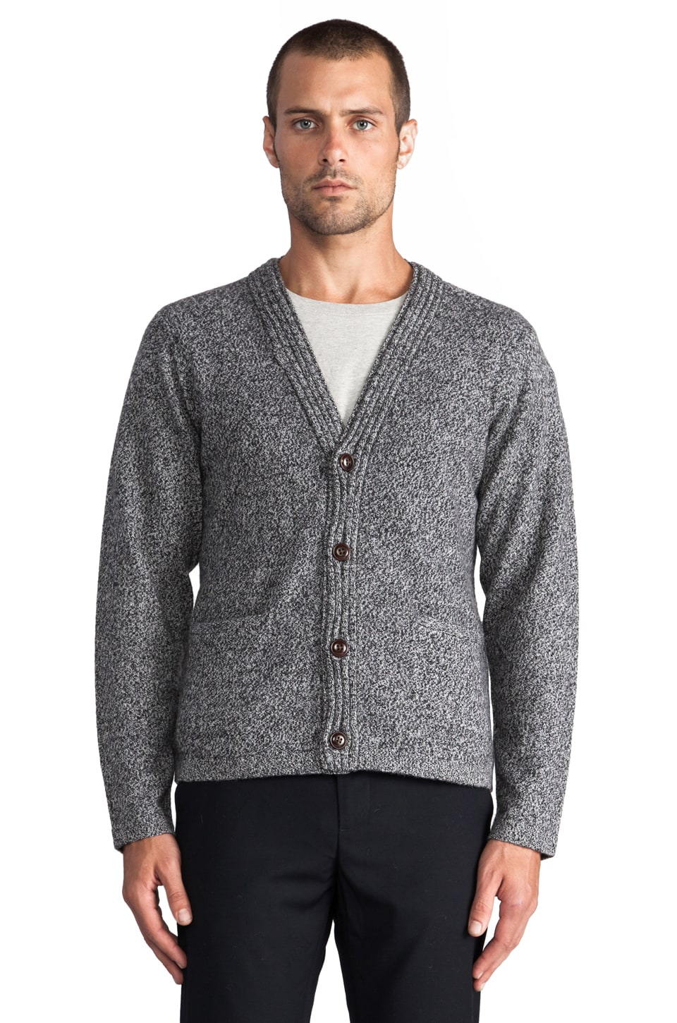 Folk Curl Edge Cardigan in Magpie