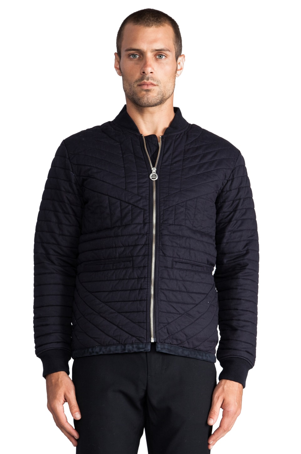 Folk Caved Bomber Jacket in Washed Navy