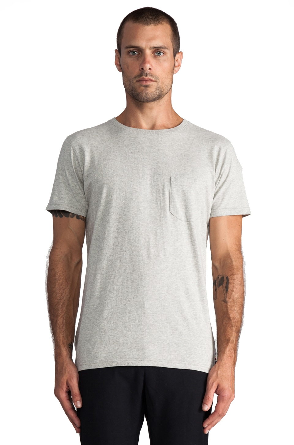 Folk Otis Tee in Light Grey Marl