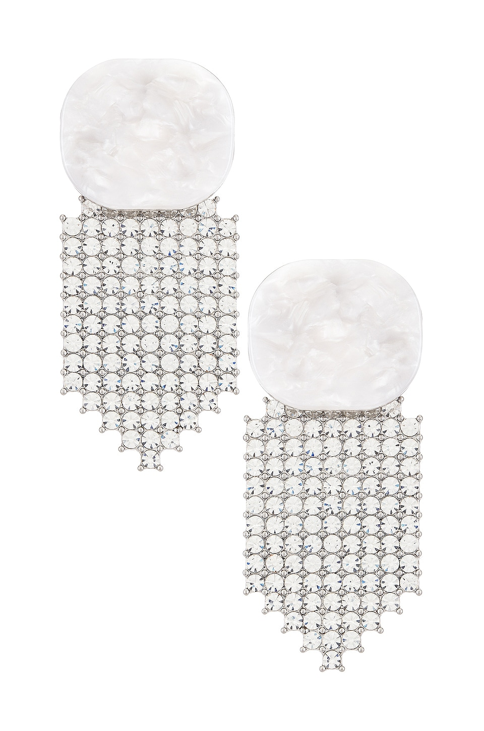 For Love & Lemons Auburn Crystal Earrings in White
