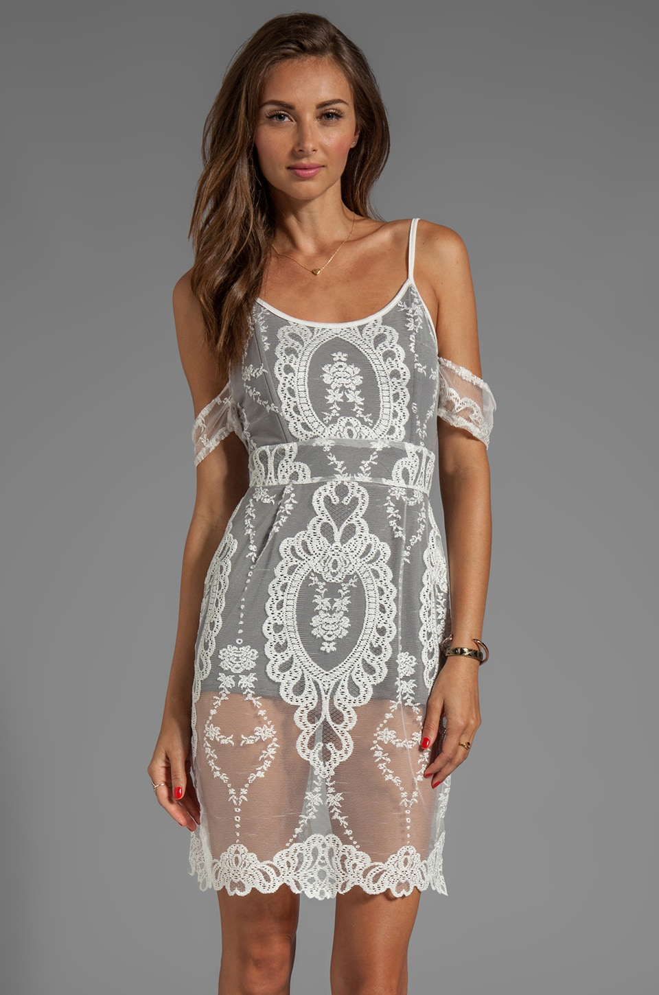 For Love & Lemons Vienna Off The Shoulder Mini Lace Dress with Contrast Lining in Ivory