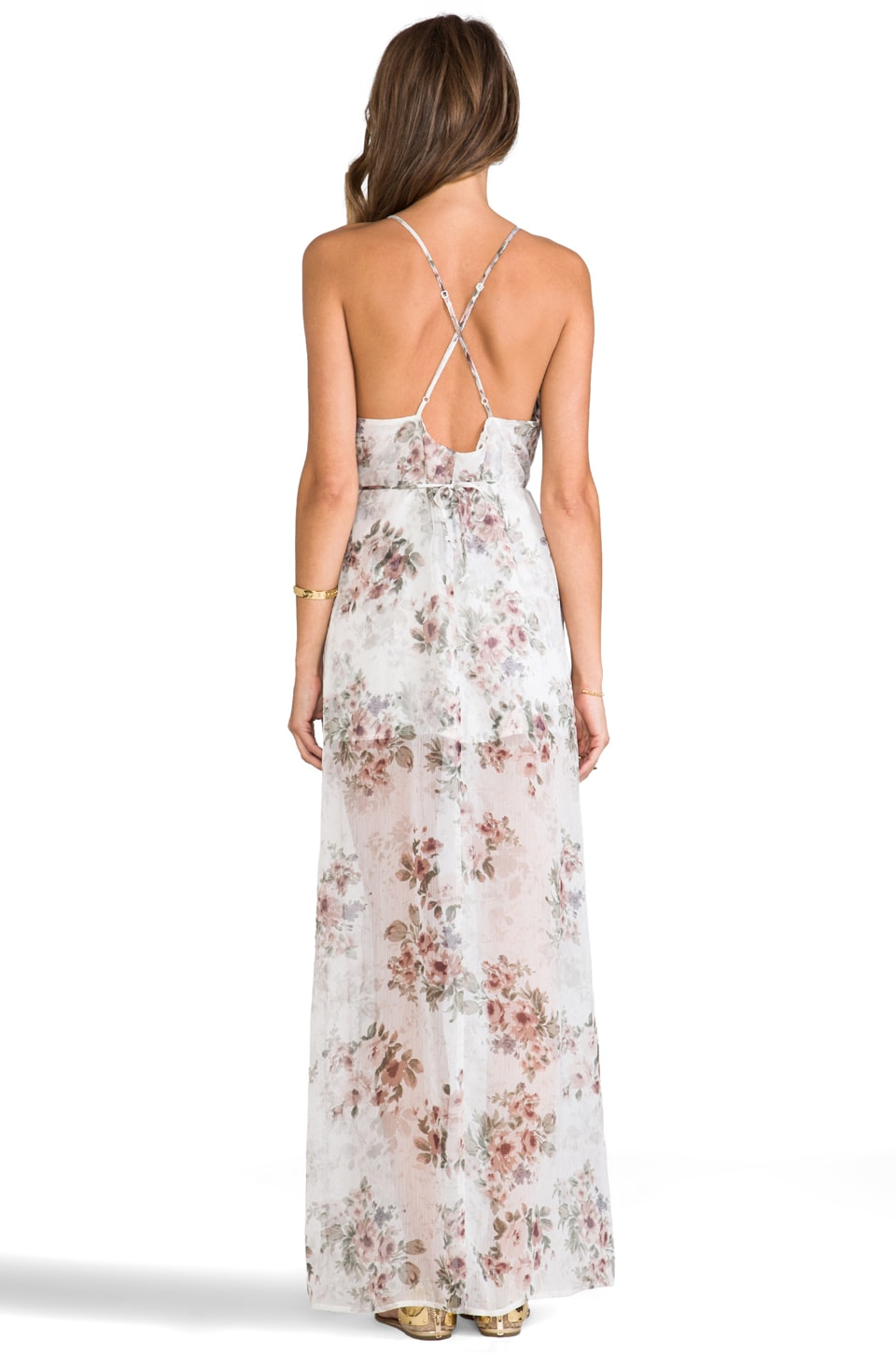 For Love & Lemons Victorian Maxi Tank Dress w/ Slits in Floral