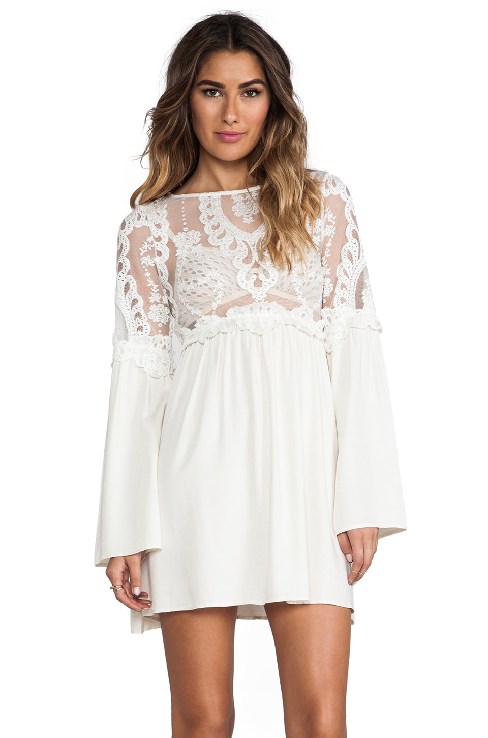 For Love & Lemons Isabella Dress w/ Lace Bodice in Ivory