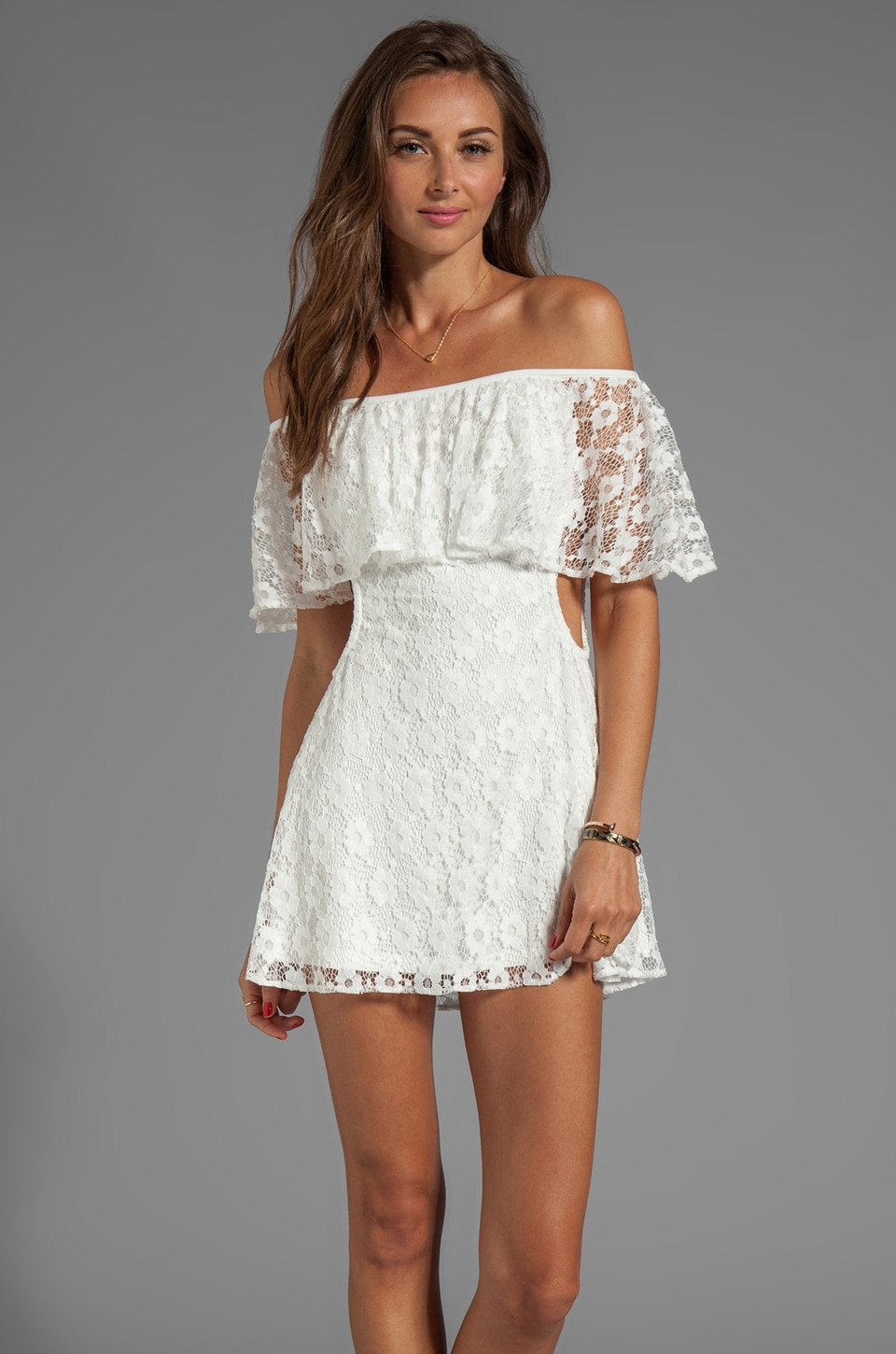 For Love & Lemons Tender Heart Dress in White