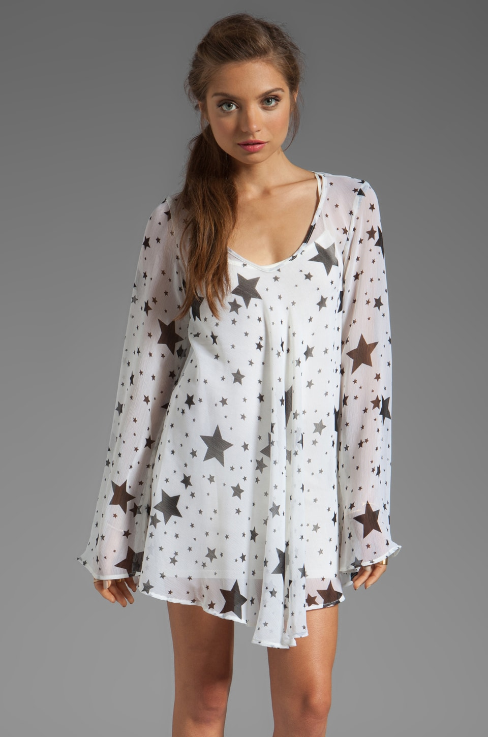For Love & Lemons Day Tripper Long Sleeve Dress in Star Print