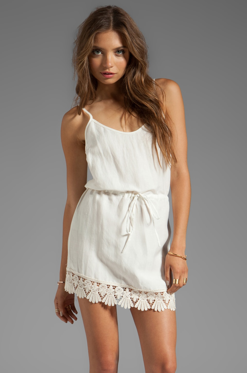 For Love & Lemons Tennessee Mini Dress with Lace Trim in Ivory