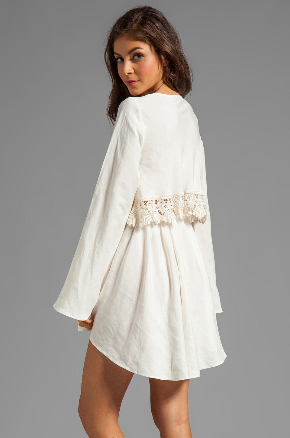 For Love & Lemons Luciana Long Sleeve Dress w/ Lace Detail in Ivory
