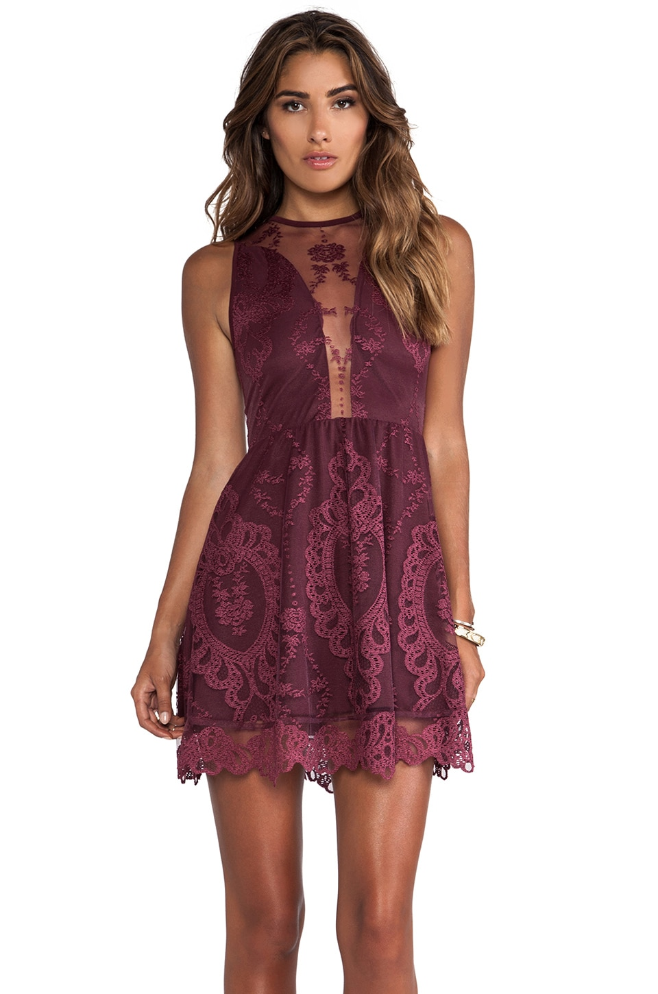 For Love & Lemons Lulu Lace Mini Dress in Wine