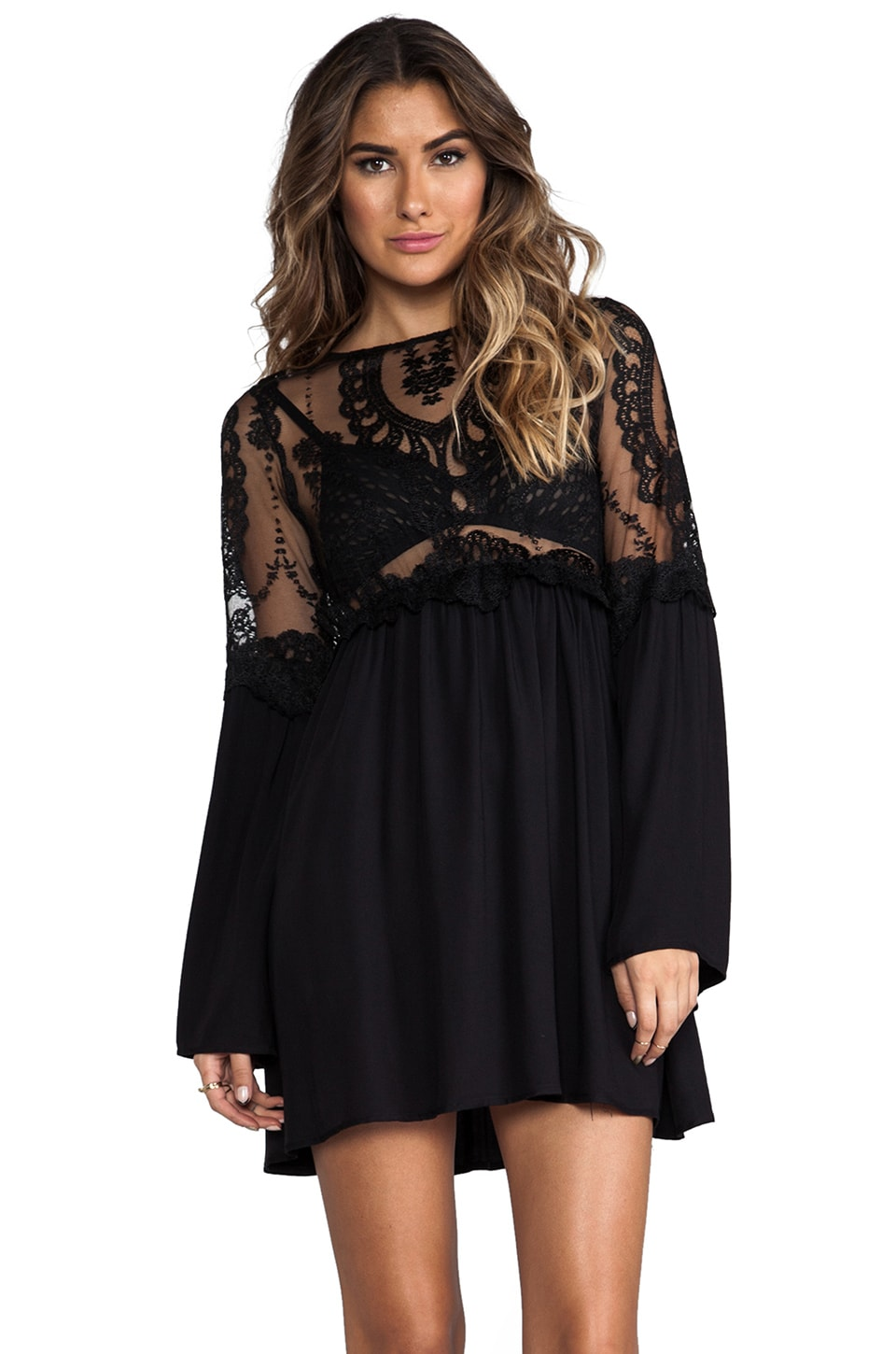 For Love & Lemons Isabella Dress in Black