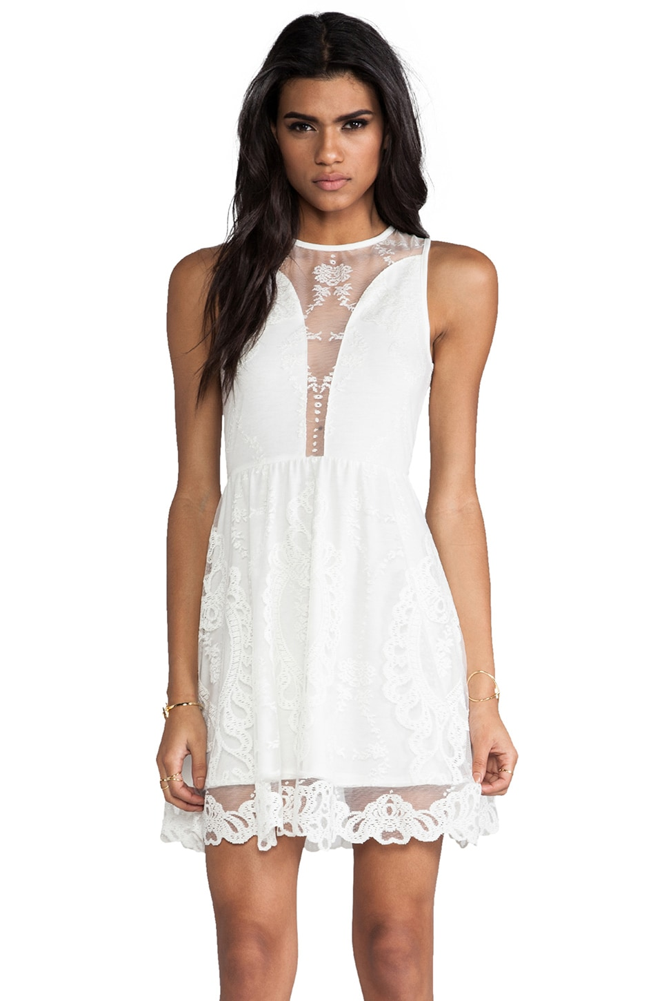 For Love & Lemons Lulu Dress in Ivory Lace