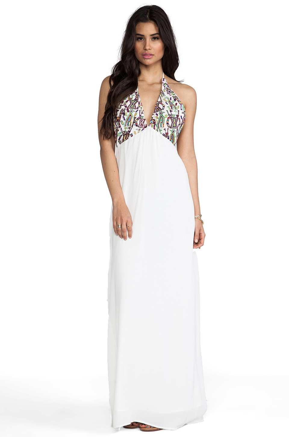 For Love & Lemons San Pedro Maxi Dress in White Multi