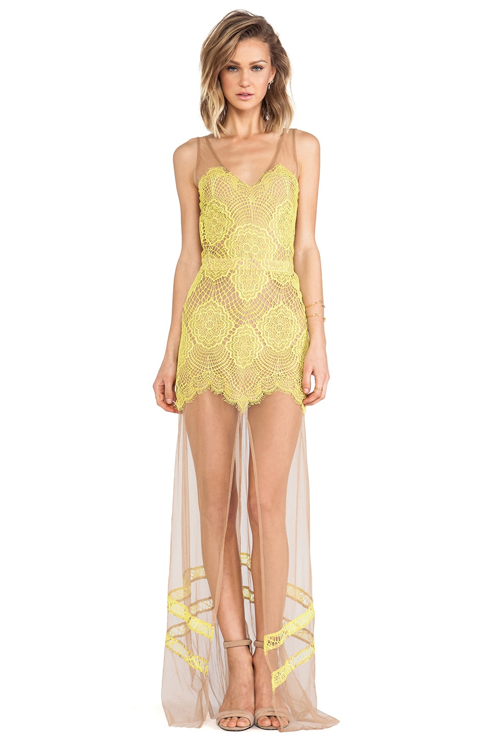 For Love & Lemons Antigua Maxi Dress/Nude in Chartreuse