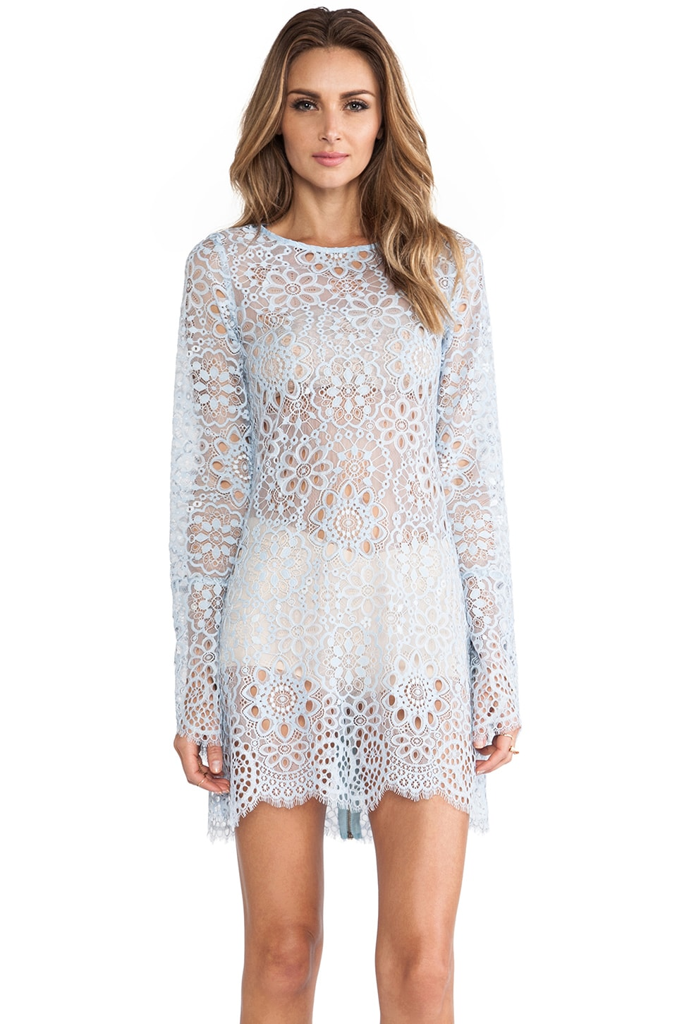 For Love & Lemons Love Birds Dress in Periwinkle