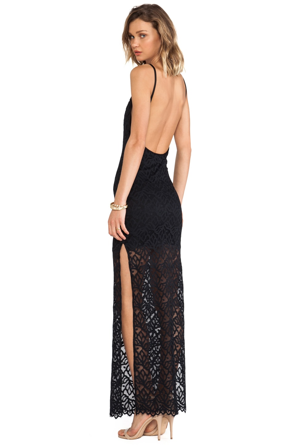 For Love & Lemons Mi Amore Maxi Dress in Black